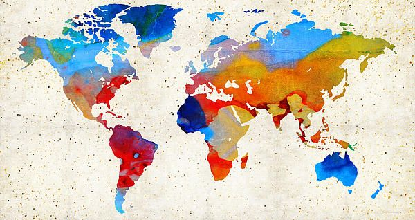 World Map 18 - Colorful Art By Sharon Cummings Painting by Sharon Cummings #maps #worldmap #colorfulart #travel #homedecorating