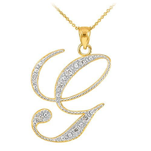 14k yellow gold diamond script initial letter g pendant necklace 16