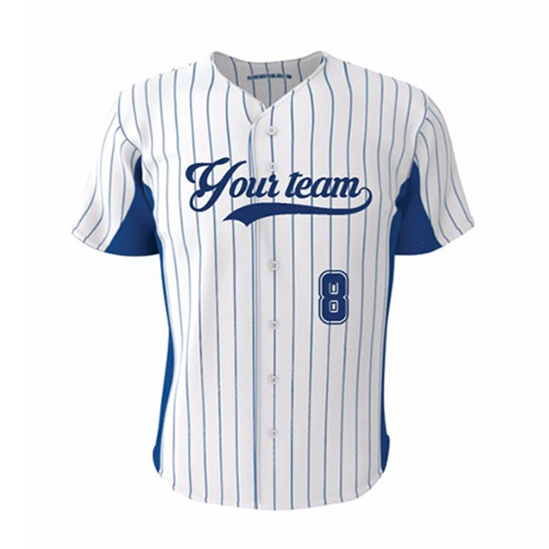 Knitted Fabric V Neck Baseball Jersey Men Shirt Sublimation 100 Polyester Dry Fit Popular Navy Blue Strip Custom Softball Shirts Baseball Tops Stripes Fashion