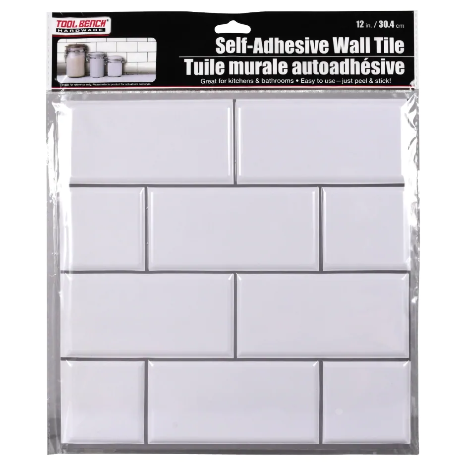 Tool Bench Hardware Self Adhesive Black Wall Tile 12x12 In In 2020 Black Wall Tiles