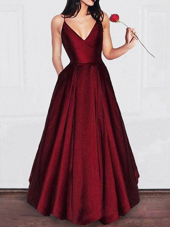 simple vintage style red gown