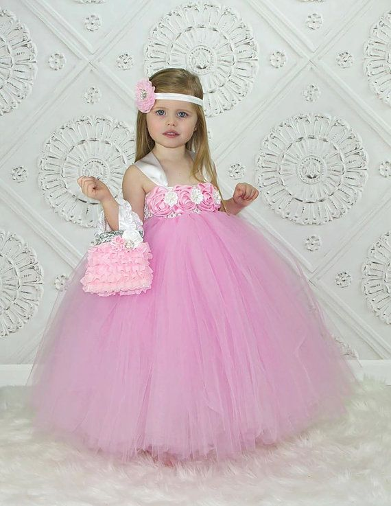 Flower Girl Dress, Pink and White Tutu Dress, Matching Headband, and ...