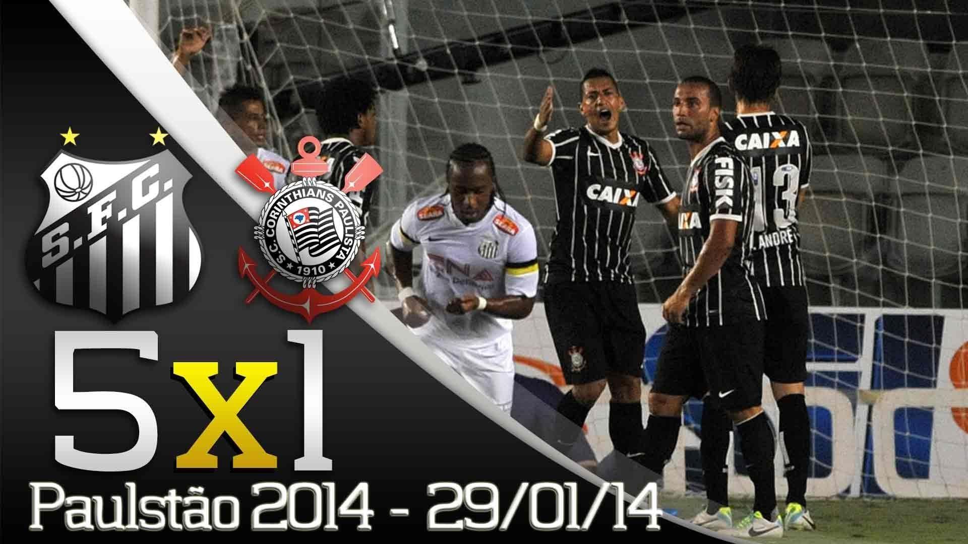 Melhores Momentos Santos 5 x 1 Corinthians Paulistão 2014