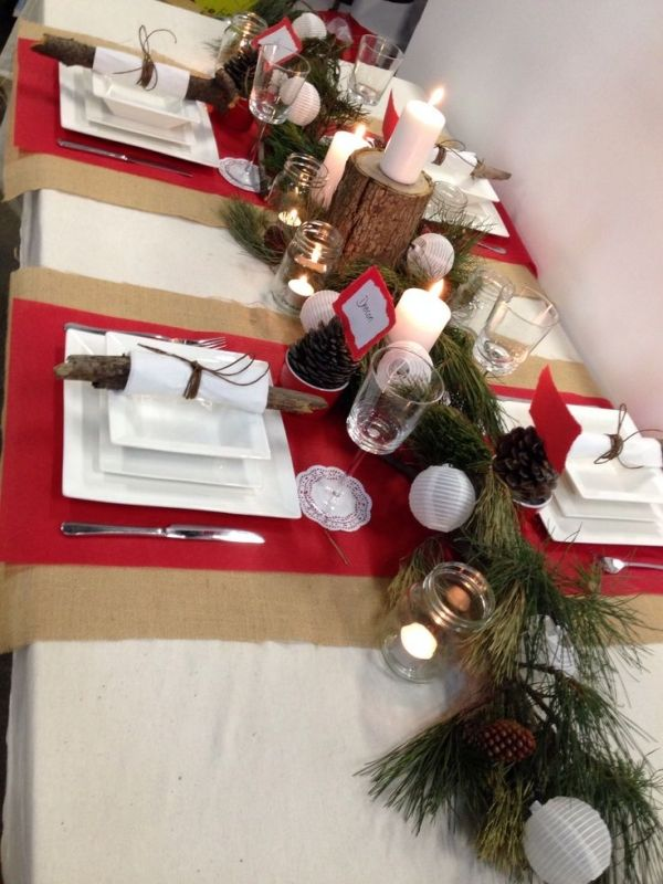 christmas table setting rustic style - Rustic Christmas Table Decorations