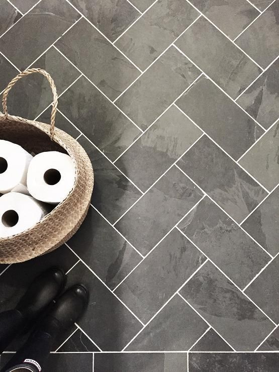 Bathroom tile | herringbone tile | black slate | slate floor | tile floor | white grout tile