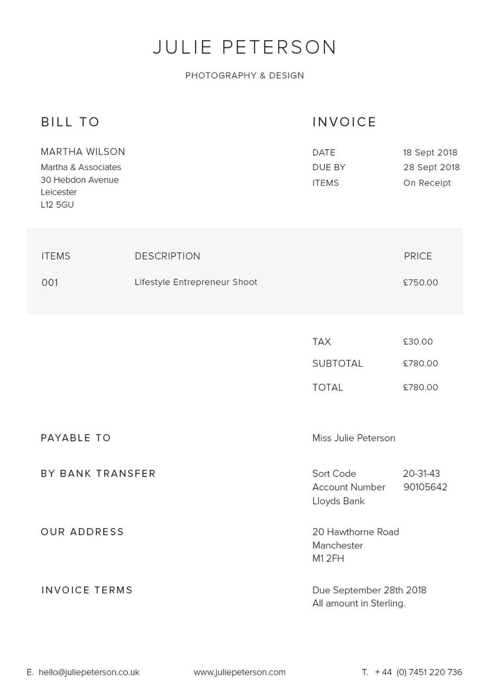 Invoice Template Printable Invoice Order Form Etsy