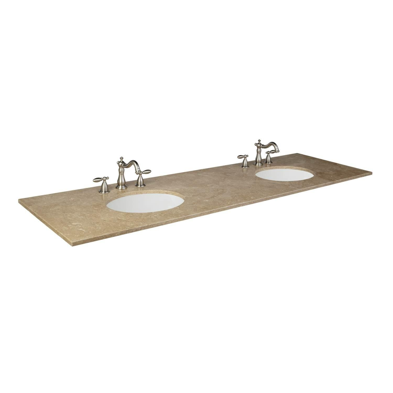 73 X 22 Travertine Vanity Top With Double Undermount Sinks With