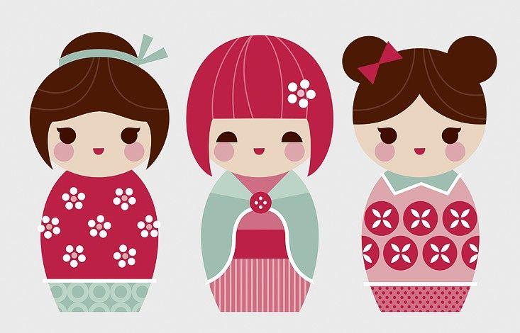 Kokeshi Dolls Canvas Print   Belinda Strong   Artists   Happy Spaces