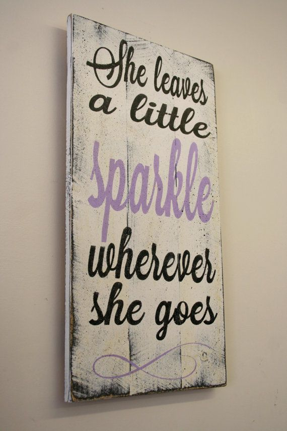 She Leaves A Little Sparkle Wherever She Goes Pallet Sign Girls Nursery Sign Lavender Nursery Decor Girls Bedroom Sign Baby Gift Shabby Chic is part of Lavender Girls bedroom - shabby chic look and seal the piece  The back is left unfinished and comes ready to hang with sawtooth hanger  Thanks for looking & I hope to create this sign for you!