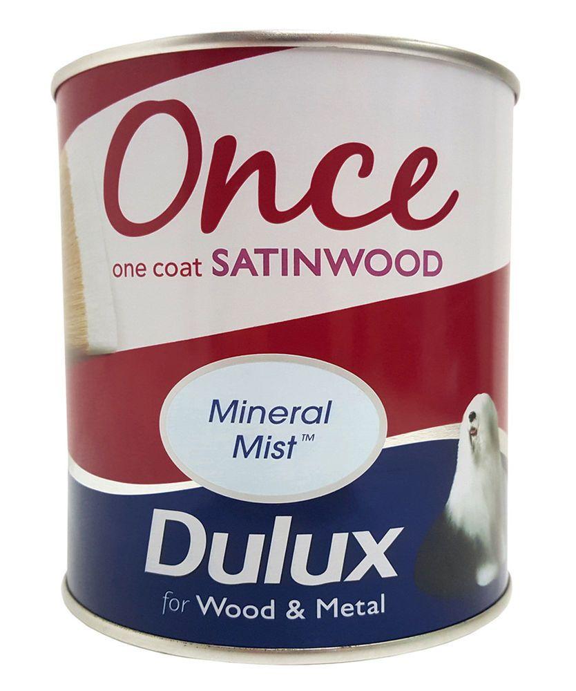 Dulux Once Satinwood One Coat Interior Wood U0026 Metal Paint   Mineral Mist    750ml