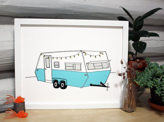 Vintage Camper Art Print Rv Trailer Illustration Travel
