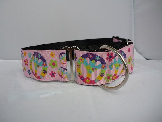 "1.5"" pink peace sign martingale collar"