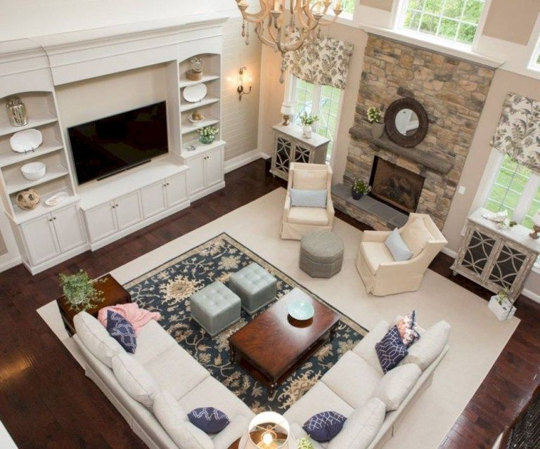 62 Adorable Living Room Layout Ideas With Fireplace Rectangular