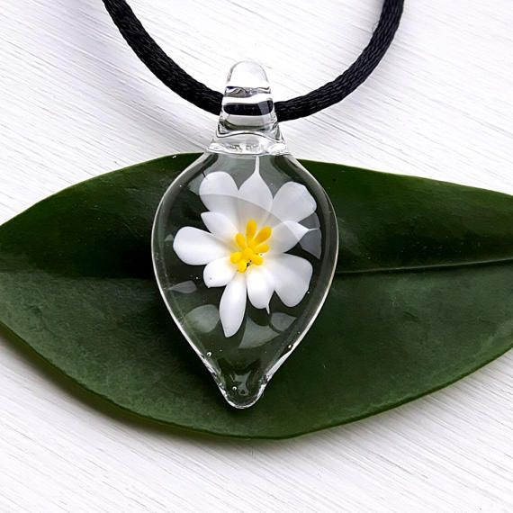 Small Flameworked Glass Flower Pendant White Flower Pendant