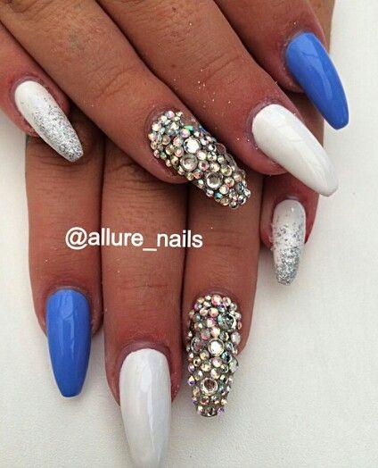 white royal blue rhinestone nails