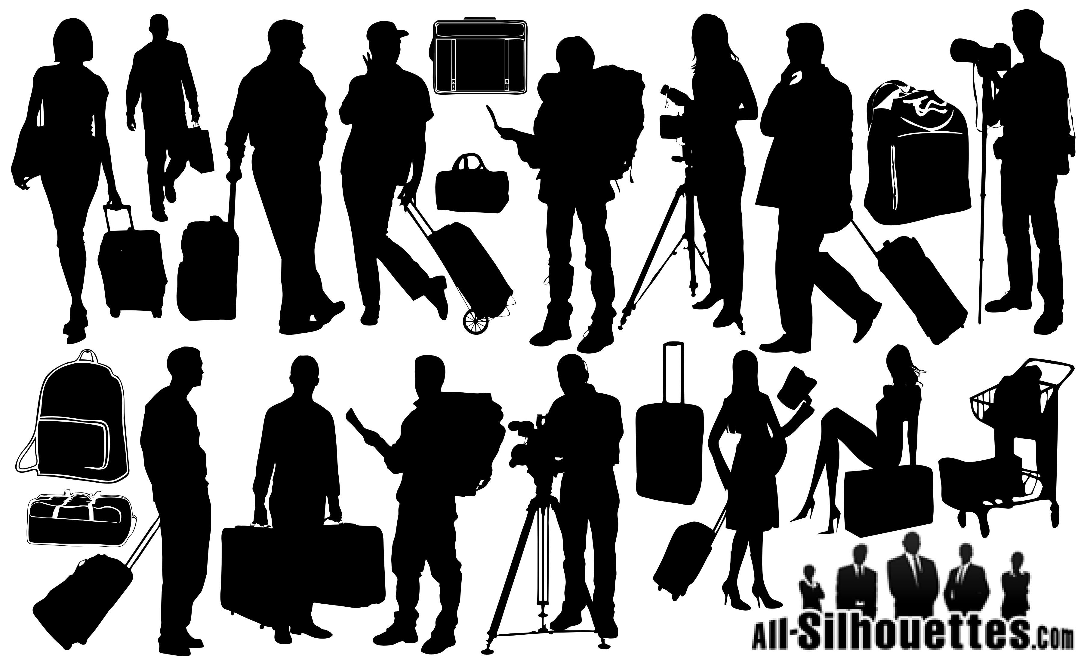 Traveling People Silhouettes Vector Art Graphics: 21 Tourists Travelers Silhouettes