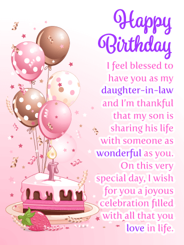 Joyous Celebration Happy Birthday Card For Daughter In Law 2020