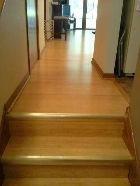 Custom Home Interiors Charlotte Mi: A Set Of Nicely Finished Steps Using Mohawk Strand Woven