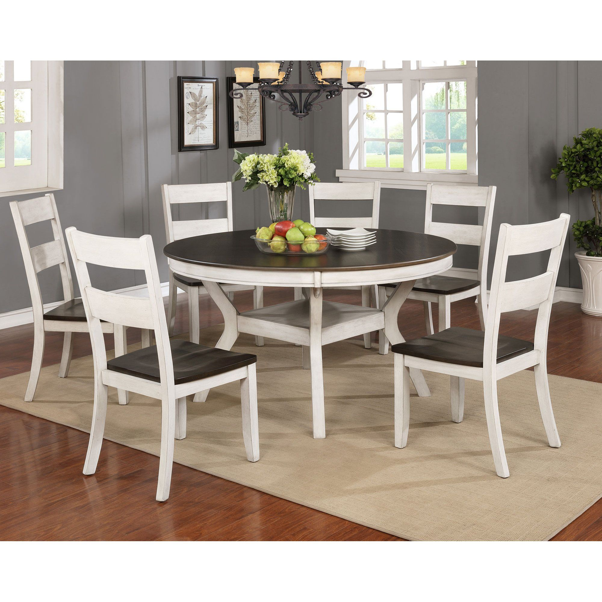 White And Brown 7 Piece Dining Set Perrin Rc Willey Furniture Store Round Wood Dining Table Round Dining Table Sets Solid Wood Dining Chairs