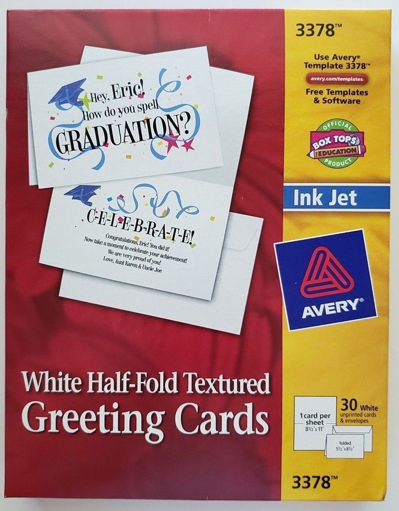 Avery Ink Jet 3378 White Half Fold Textured Greeting Cards Pack of