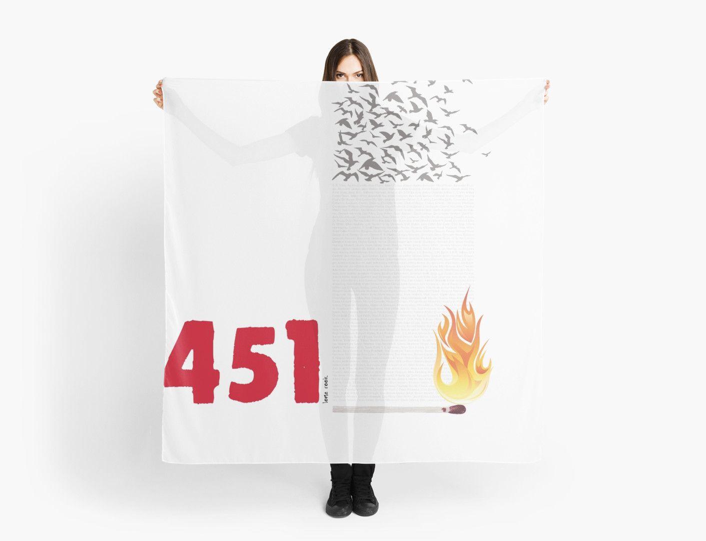Fahrenheit 451 burning words scarf by quietmole