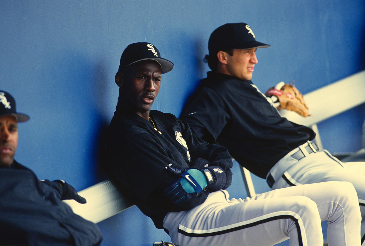 huge discount 959e6 ad702 Michael Jordan  45 of the Birmingham Barons the Double A minor league  affiliate of the Chicago White Sox looks on from the bench during a mi.