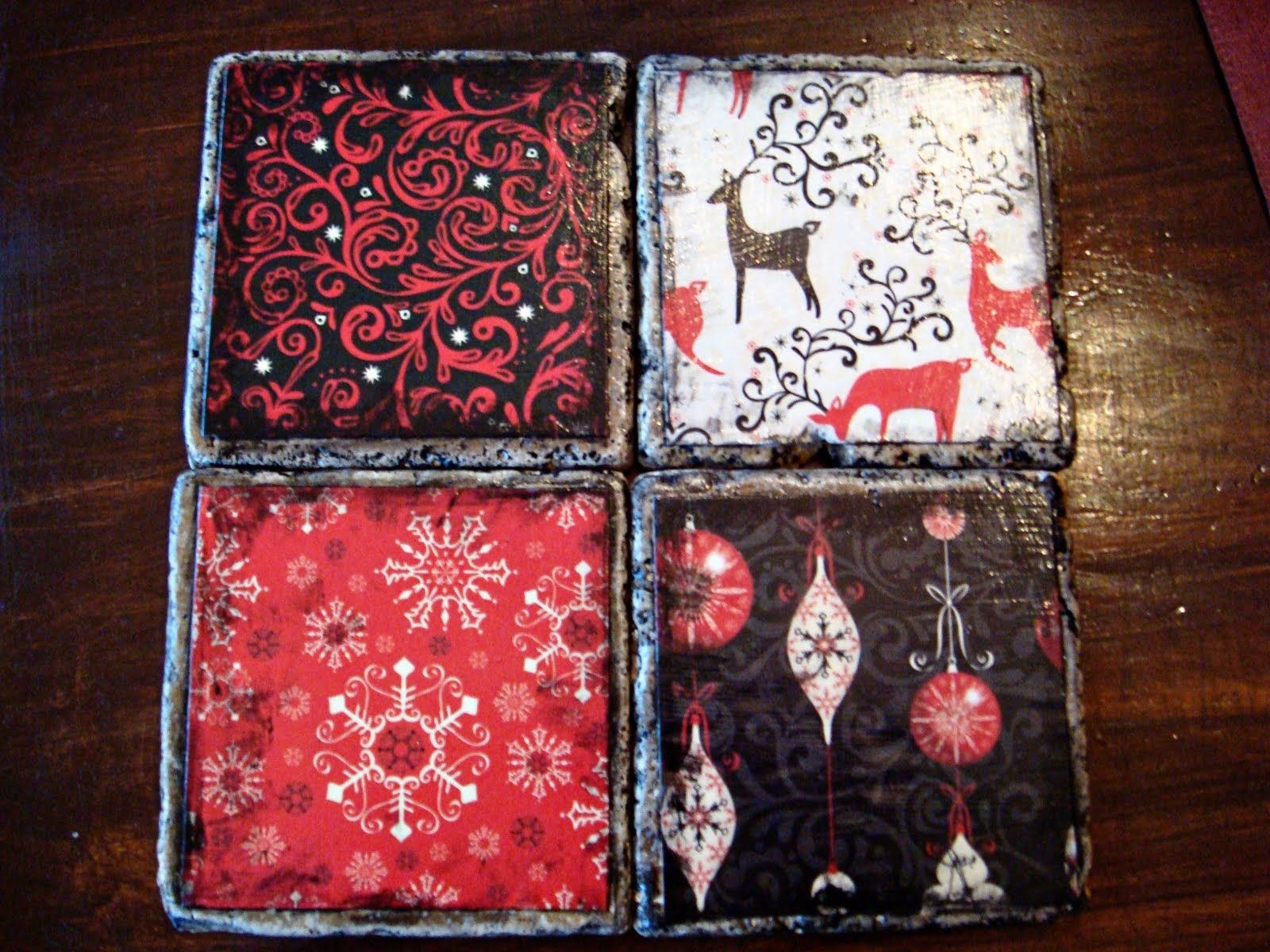 Making now..have some great left over paper! Christmas Coasters