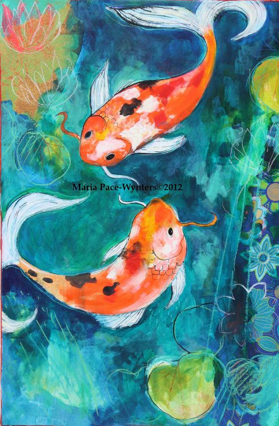 The koi pond original painting by maria pace wynters for Koi artwork on canvas