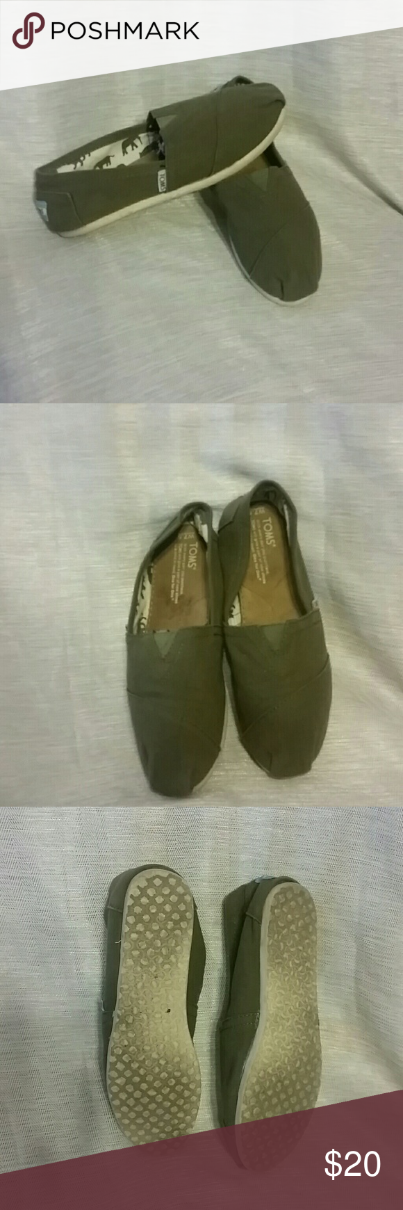 TOMS Olive colored toms they've been in storage for months and the sole seems to have seperatated on both shoes nothing major imo all my toms do that since i live in them! TOMS Shoes Sneakers