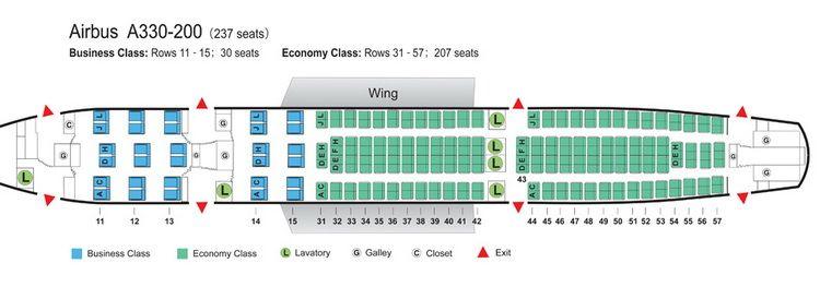 Air China Airlines Airbus A330 200 Aircraft Seating Chart China