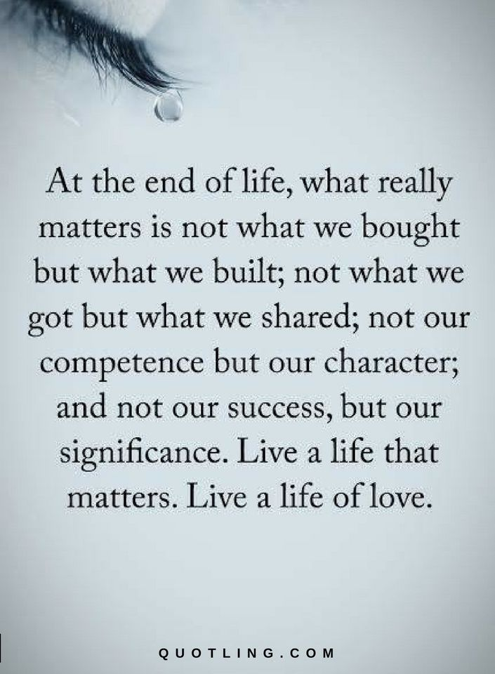 Life Quotes At The End Of Life, What Really Matters Is Not What We Bought  But What We Built, Not What We Got But What We Shared. Not Our Competenceu2026