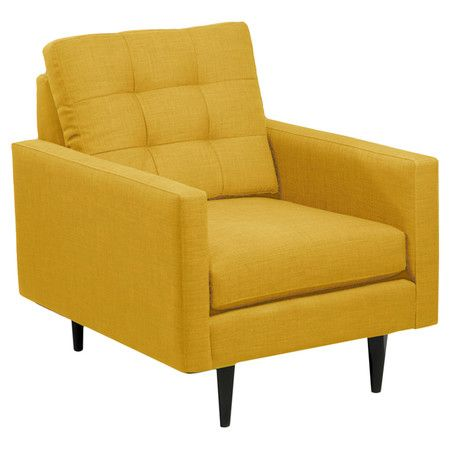 Arm Chair With A Midcentury Silhouette And Tapered Legs