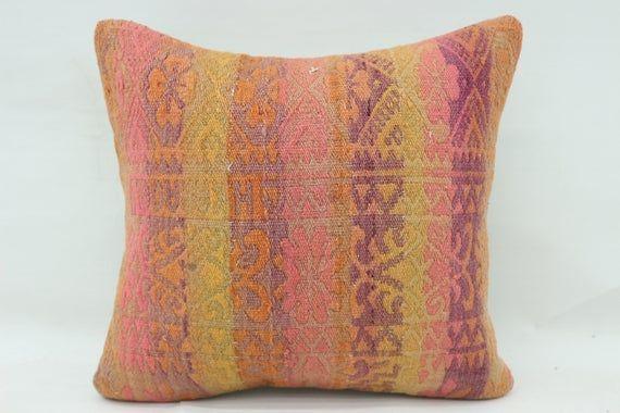 16x16 Kilim Pillow, Ottoman Pillow, Embroidered Pillow, Throw Pillow, Pink Pillow, Home Decor Pillow