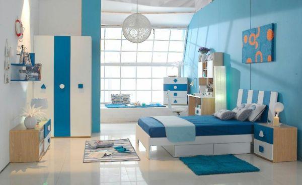 Farbideen Wohnzimmer Modern Blau Weiß Streifen