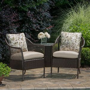 Mainstays Wicker 3 Piece Tete A Tete Bench With Images Outdoor