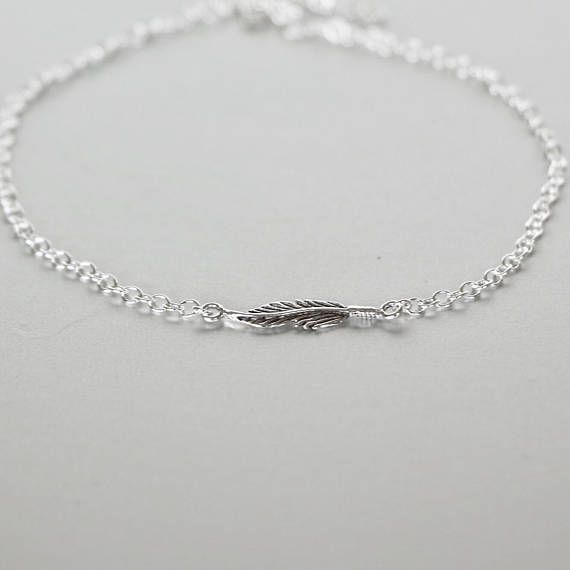 anklet silver sterling feather p asp