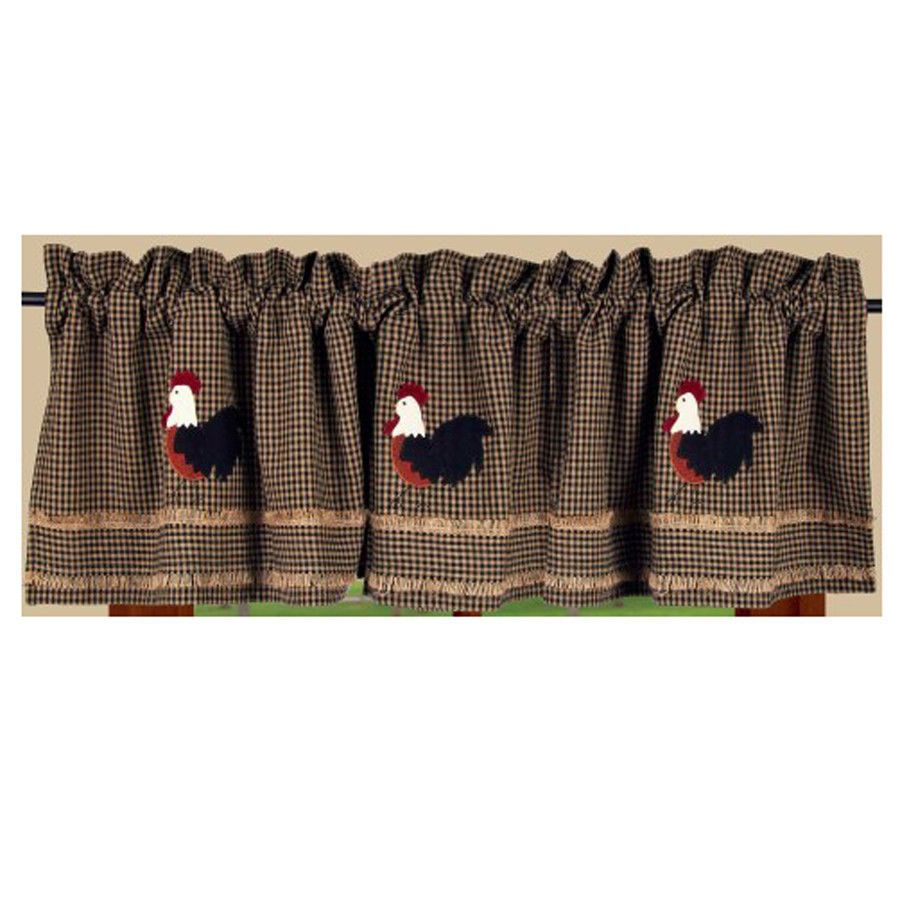 New Primitive Country Chicken Rooster Black Check Burlap Curtain Window Valance