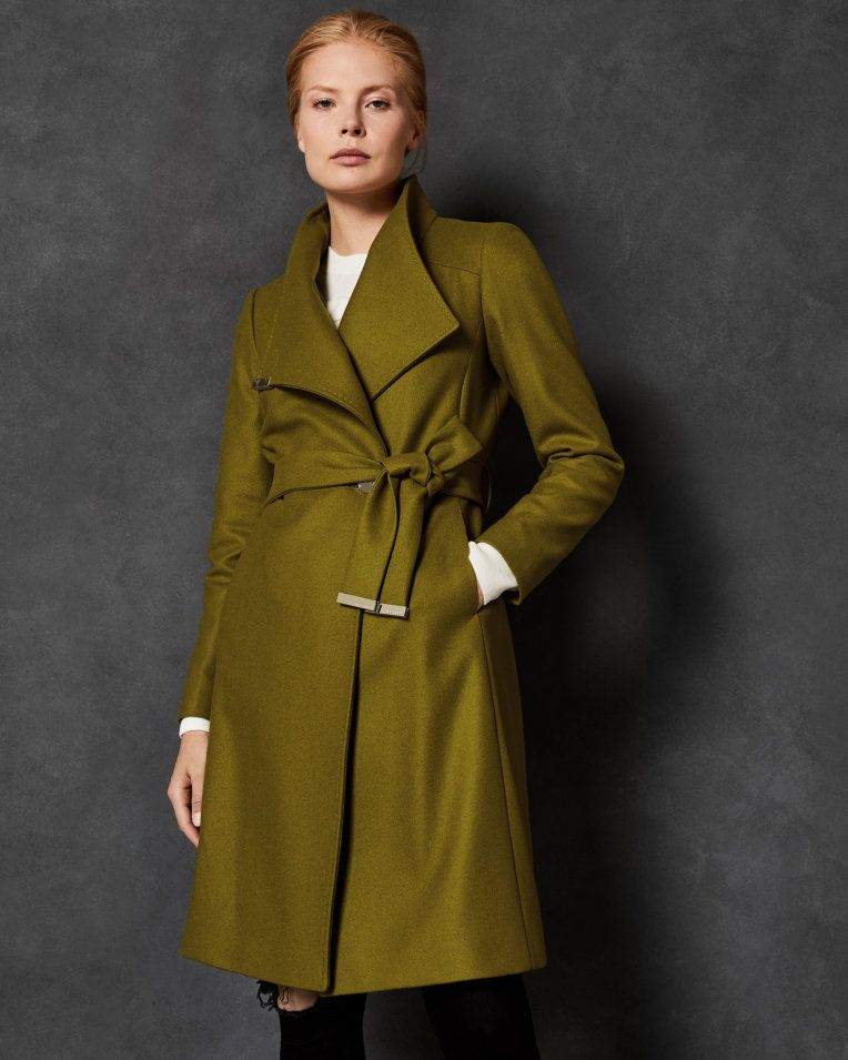Long wool wrap coat Mid Green | Jackets and Coats | Ted