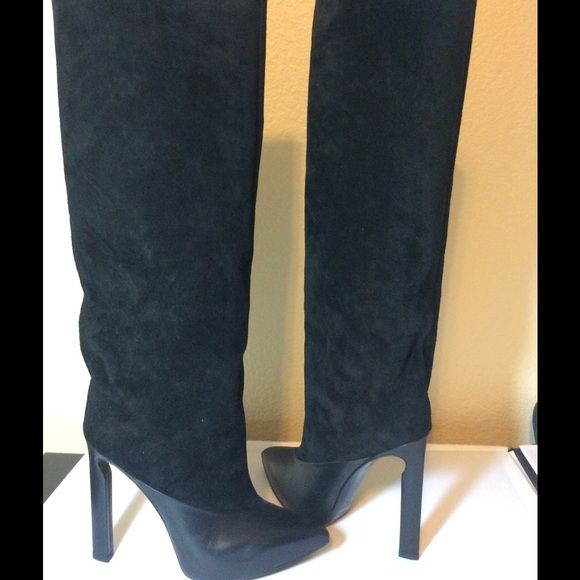 Jimmy Choo Suede Black Boots NWT | High boots, 4 inch heels and Shoes