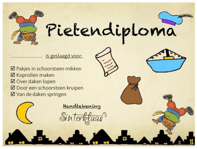 Pietendiploma Thema Sinterklaas Thema Sinterklaas
