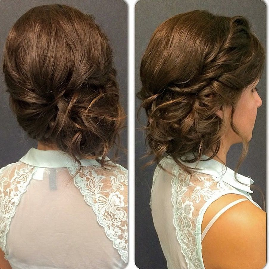 braided to the side updo brunette bridesmaid curled hair