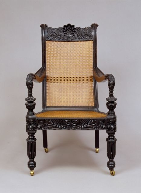 Rattan Arm Chair Upholstered Dining Chairs Set Of 6 Easy Chair, Sri Lanka, 1840-1860, Ebony, Brass | Game Thrones Pinterest Colonial ...