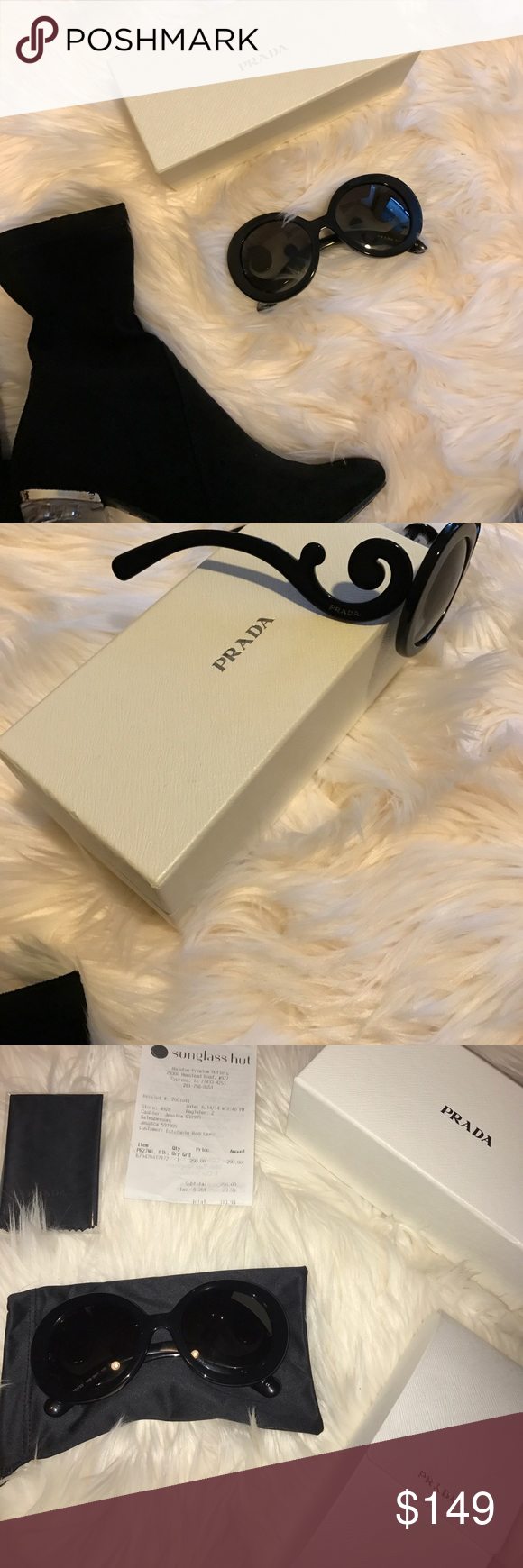 Prada Sunglasses Oversized black sunglasses, authentic Prada with receipt from sunglass hut and boxes. Well taken care of, didn't get to wear much as they were a bit too big for my face. No scratches, mint condition. Prada Accessories Sunglasses