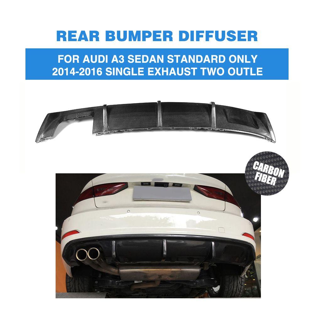 A3 Carbon Fiber Rear Bumper Lip Diffuser For Audi A3 Standard Sedan 4 Door 8v 14 16 Non Sline Single Exhaust Two Outlet Audi A3 Sedan Audi