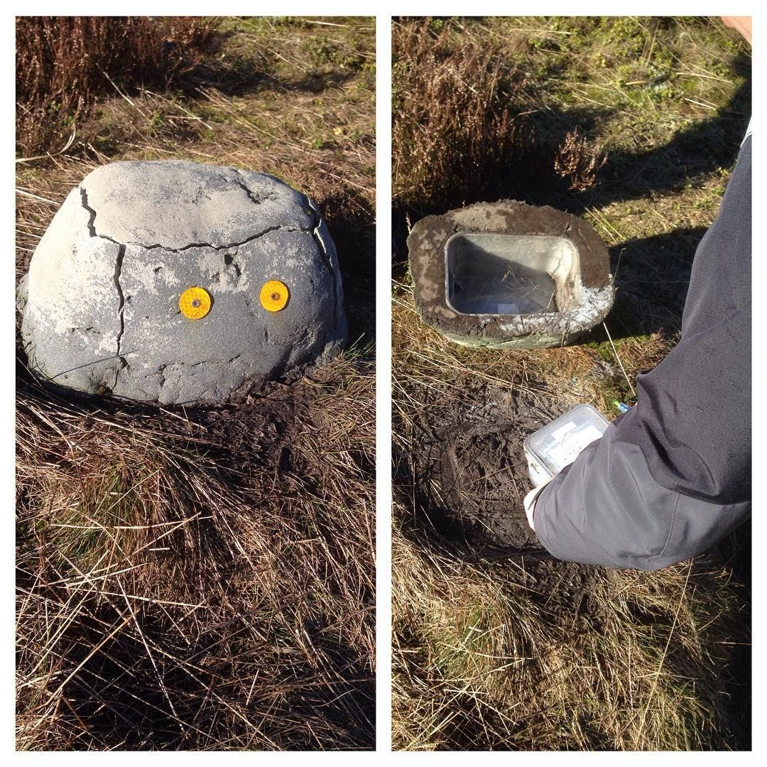 a nice fake rock concealing the geocache container being a night cache the reflectors - Fake Rock