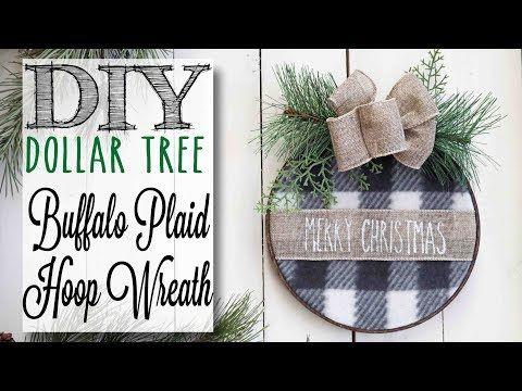 DIY Dollar Tree Christmas Hoop Wreath | 7 of 12 Days of Christmas - YouTube #dollartreecrafts