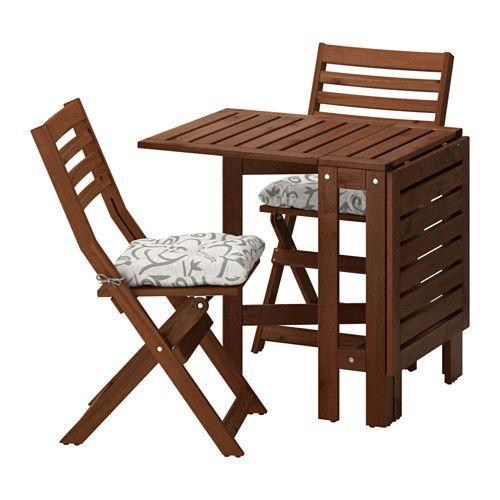 ÄPPLARÖ Table+2 Folding Chairs, Outdoor, Brown Stained, Stegön Beige  Äpplarö Brown Stained/Stegön Beige