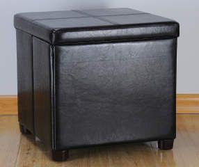 Just Home Black Square Storage Tray Ottoman Shoe Storage Ottoman Bench With Storage Black Storage Ottoman