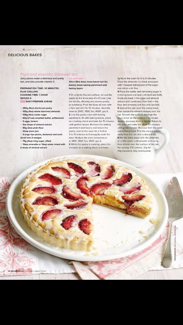Plum and amaretto bakewell tart
