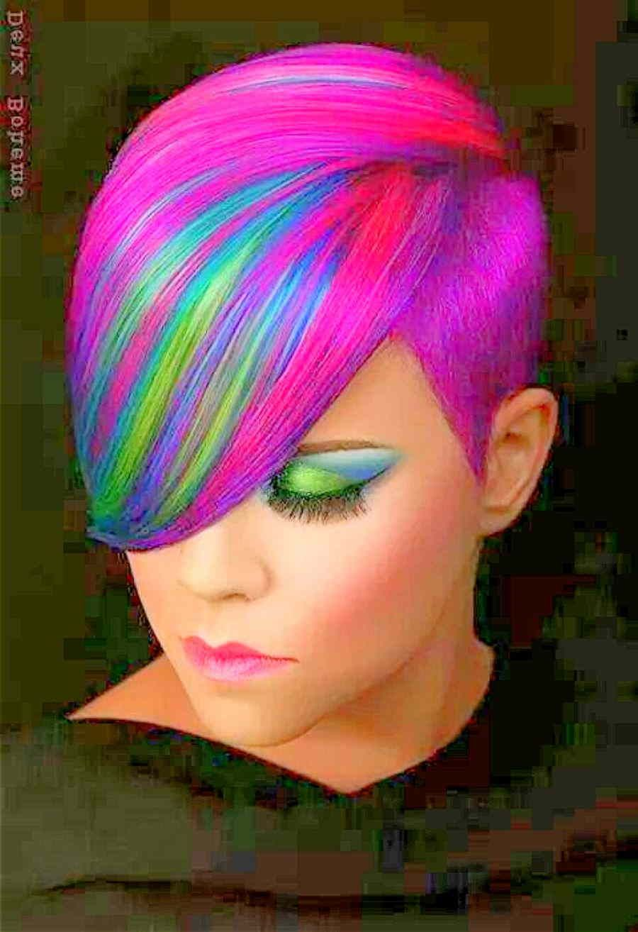 cool rainbow hair - short